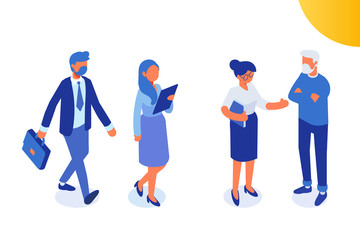 Teamwork. Isomeric business people.  Man and woman. Flat vector characters isolated on white background.