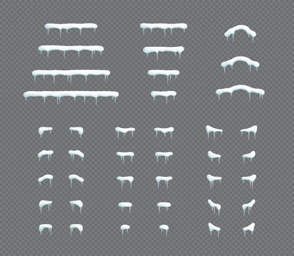 Snow Cap Icicle Winter 3d Illustration Vector Elements Set