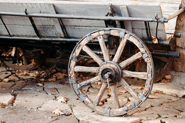 wheel of old wooden wagon