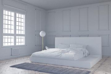 Vintage Schlafzimmer im Tageslicht. 3D Rendering