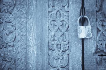 Lock on a wooden door