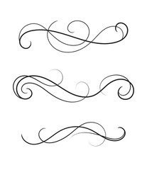 Set of curly divider. Scroll element isolated.