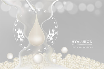 Hyaluronic acid skin solutions ad, white collagen serum drop with cosmetic advertising background ready to use, vector illustration.
