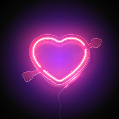 Bright heart. Neon sign. Retro neon heart signboard with word Love on purple background. Design element for Happy Valentine's Day. Ready for your design, greeting card. Vector illustration.