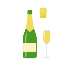 Bottle of champagne. Raster copy.