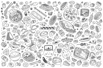 Hand drawn Japanese food set doodle vector background