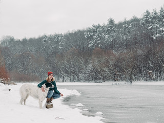 Travel with dog at wintertime.