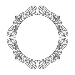 decorative floral adult coloring page  frame black and white isolated on white
