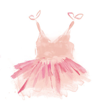 Cute Pink Ballet Tutu. Watercolor Ballerina Dress of a Litlle Girl