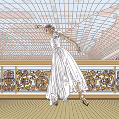 Ballerina, ballet, girl, dance, art. Architecture, building, interior, stained glass. Movement, music, theatre. Engraving, drawing, sketch. Victorian vector illustration.