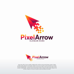 Pixel Arrow logo designs concept vector, Pixel Cursor logo designs template