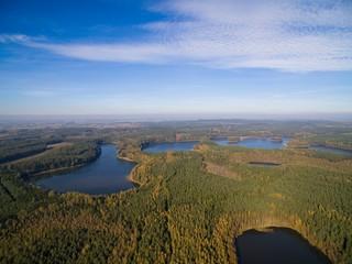 Aerial view of beautiful landscape of Mazury region - Krzywa Kuta Lake, Poland