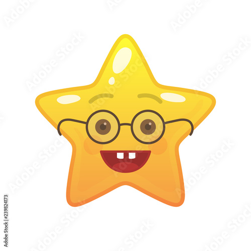 Egghead star shaped comic emoticon  Nerd face with facial expression