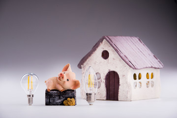 Led lamps and piggy bank lie on a near the house layout