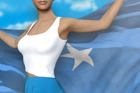 sexy woman in bright skirt holds Somalia flag in hands behind her back on the cloudy sky background - flag concept 3d illustration