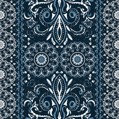 Ethnic seamless grunge pattern for textile. Paisley border print. Vector tribal embroidery. Watercolor style