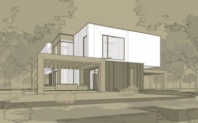 3d rendering sketch of modern cozy house in garden with garage for sale or rent. Black line sketch with white spot and hand drawing entourage on craft background