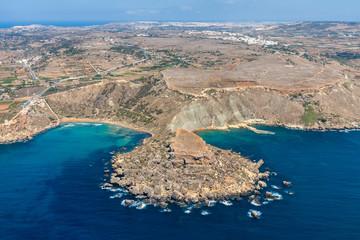 Aerial view of Ghajn Tuffieha bay beach. Mellieha (Il-Mellieha), Northern Region, Malta island. Malta from above.