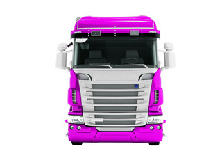 Greater violet truck for transportation of goods for long distances front view 3d render on white background no shadow