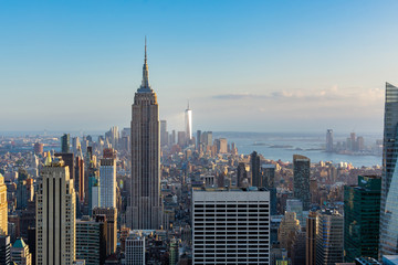 Photo sur Aluminium New York New York city view of Downtown with Empire state building and One World trade center