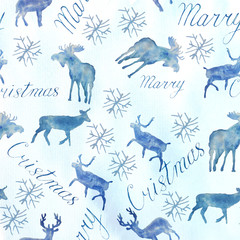 Watercolor illustration.Christmas watercolor seamless pattern. Deer and happy new year lettering