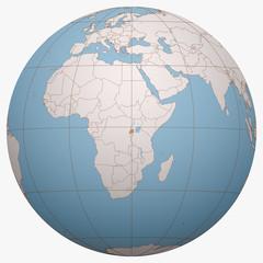 Rwanda on the globe. Earth hemisphere centered at the location of the Republic of Rwanda. Rwanda map.