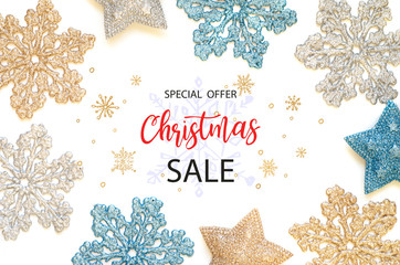 Merry Christmas sale background. Christmas background with shining snowflakes and stars.