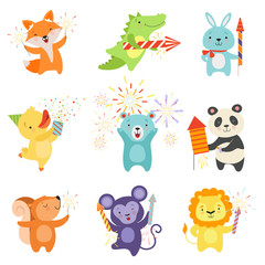 Cute animals with party poppers set, lovely cartoon animal characters celebrating, design template can be used for New Year or Christmas, Birthday card, banner, poster, holiday decoration