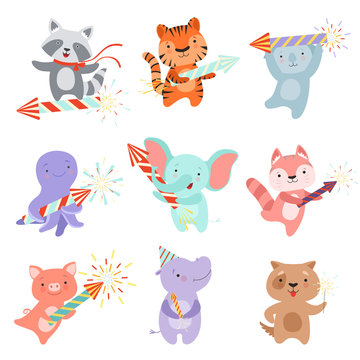 Cute animal characters with party poppers set, design template can be used for New Year or Christmas, Birthday card, banner, poster, holiday decoration vector Illustration