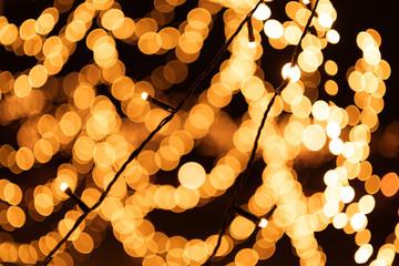 Christmas Tree Golden Bokeh Light