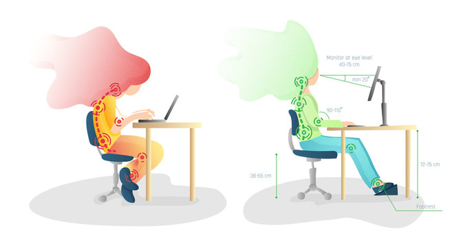Ergonomic, wrong and Correct sitting Spine Posture. Healthy Back and Posture Correction illustration. Office Desk Posture. Curvature of Spine with Wrong Sitting, Good Position when working at Computer