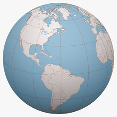 Saint Kitts and Nevis on the globe. Earth hemisphere centered at the location of the Federation of Saint Christopher and Nevis. Saint Kitts and Nevis map.