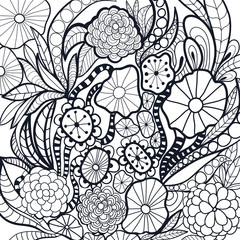 Black and white doodle flowers