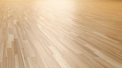 Obraz Wood parquet floor 3d perspective rendering - fototapety do salonu