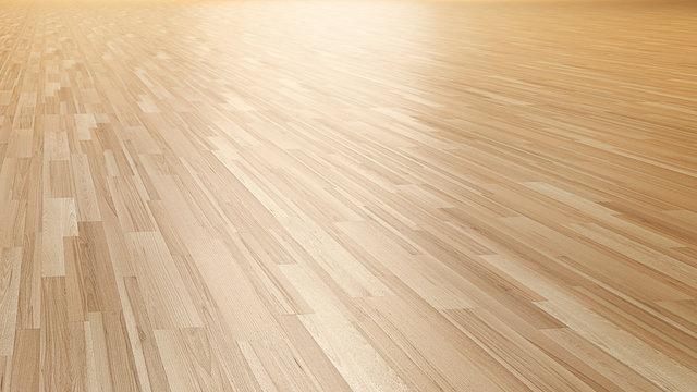 Wood parquet floor 3d perspective rendering