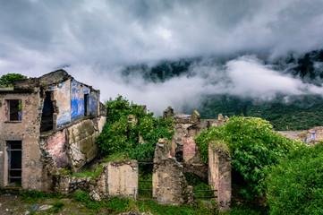 Ruins of the abandoned ghost town Gairo Vecchio, Sardinia, Italy