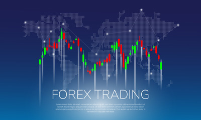 Forex Trading on world map background vector illustration. Candle Stick chart  for forex trade
