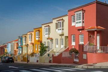 Pattern looking new colorful houses at Tenerife island