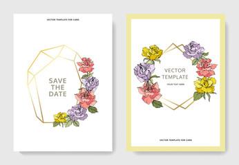 Vector Rose flowers. Wedding background card floral border. Thank you, rsvp, invitation elegant card. Engraved ink art.