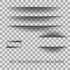 Transparent realistic paper shadow effect set. Element for advertising and promotional message isolated on transparent background.