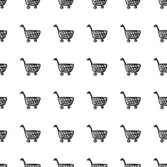 Seamless pattern Hand drawn basket doodle icon. Hand drawn black sketch. Sign symbol. Decoration element. White background. Isolated. Flat design. Vector cartoon illustration