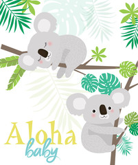 Aloha baby card for Baby Shower party or Birthday with fun koalas. Editable vector illustration