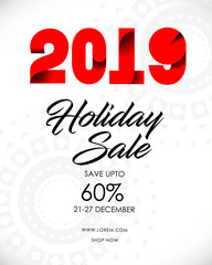 Happy New Year 2019 and christmas sale banner  design. Vector greeting illustration with abstract bokeh and lens flare pattern  with glitter. EPS10
