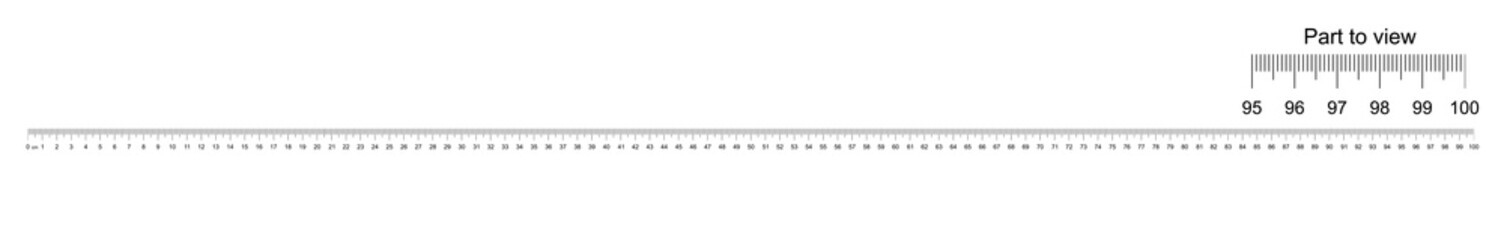 Ruler 100 cm with part to view. Measuring tool. Ruler scale 1 meter. Ruler grid 100 cm. Size indicator units. Metric Centimeter size indicators. Vector
