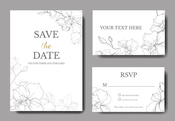 Vector Orchid. Engraved ink art. Wedding background floral border. Thank you, rsvp, invitation card illustration.