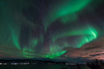 The polar arctic Northern lights aurora borealis sky star in Scandinavia Norway Tromso in the farm winter forest