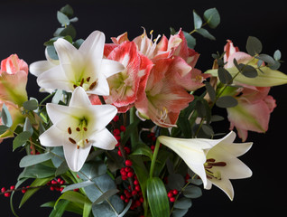 bouquet lily and amaryllis flowers
