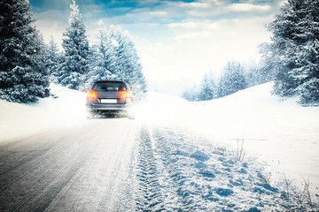 winter car on white road
