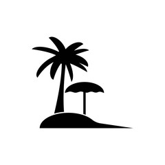 Beach icon. Vector tourism pictograms. Black silhouettes of holiday objects isolated on white. Simple traveling monochrome icon