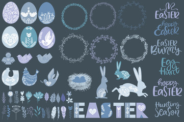 Set of Easter elements in Scandinavian style for creating posters, greeting or invitation card, printable. Editable vector illustration